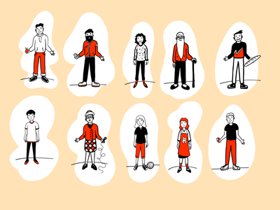 Characters red characters woman human people drawing linart flat illustration