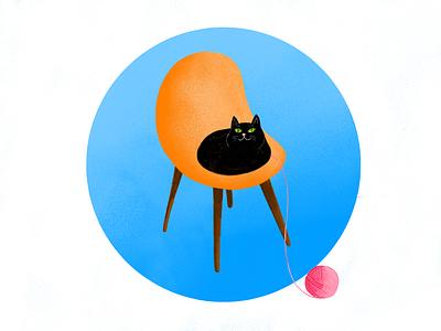 Plain evil cat animal drawing chair blue illustration black cat
