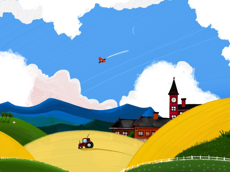 Countryside in Sweden summer blue yellow countryside linkoping sweden field illustration