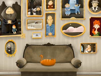 Family archive drawing adobe fresco couch cat russia old apartment family family photowall illustration