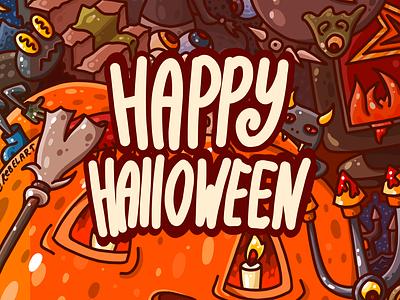 Happy Halloween flat fun scary warm orange pumpkin wimmelbild illustration
