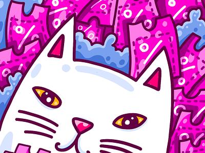 Black Friday avatar fresco pink flat cat illustration