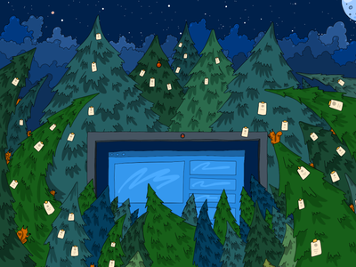Siberian Forest – Comptech 2021 green flat drawing night forest illustration