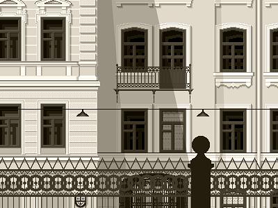 House saint petersburg piter st. petersburg illustration balcony street house pixel art fence