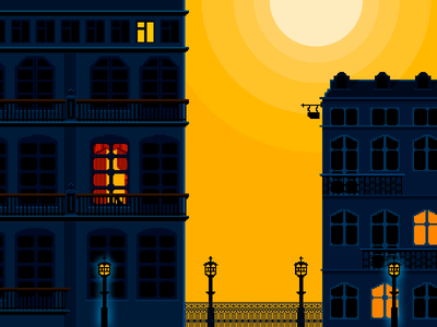The morning yellow pixel art st. petersburg old town house sun