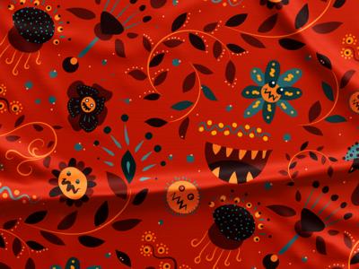 Pattern #77 flower red flat pattern illustration