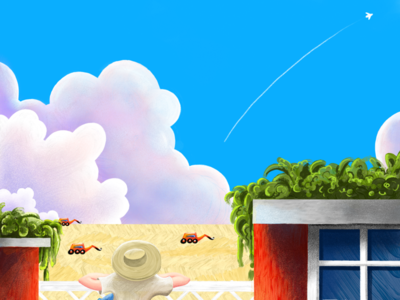 Fast Sketch clouds illustration plane sky field boy