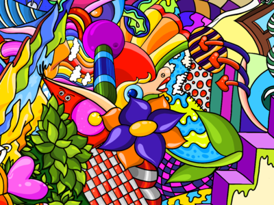 Postcard colorful doodle illustration