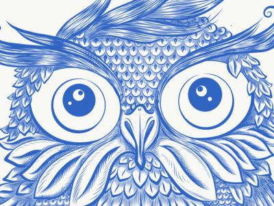 Owl eye bird owl engraved blue illustration
