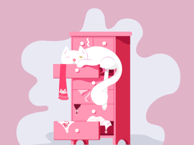 Oops and 404 flat pink underwear 404 cat illustration
