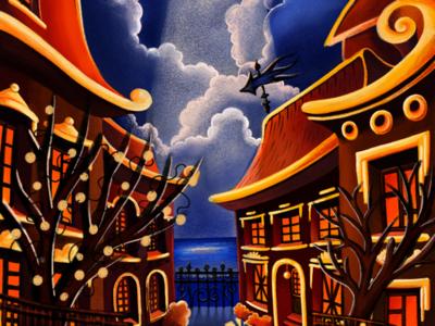 The warm night street city dark night postcard drawing illustration