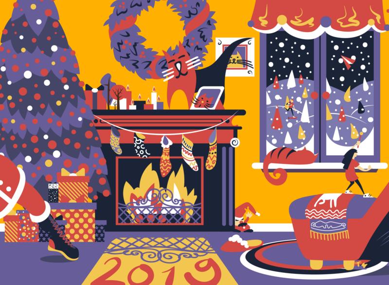 Christmas postcard snow christmas cat postcard flat illustration