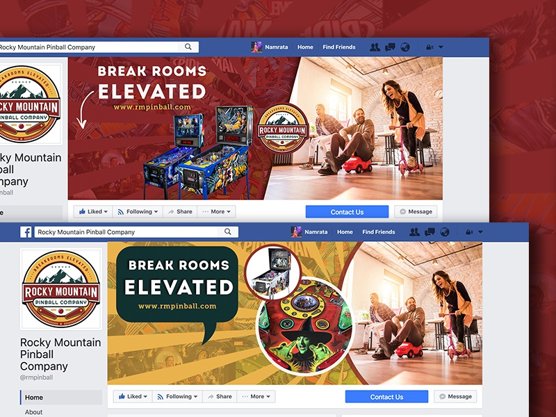 Facebook Cover Page Design - Rocky Mountain Pinball Company gaming pinball creative facebook coverpage design
