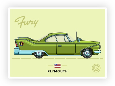 1960 Plymouth Fury vintage plymouth fury outline icon graphicdesign lettering vector illustration retrocar