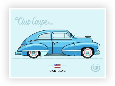 1946 Cadillac Club Coupe 62series cadillac coupe hustle outline icon graphicdesign lettering vector illustration retrocar usa