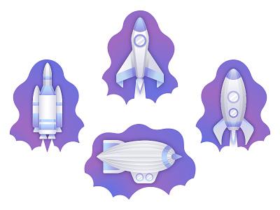 Aircraft Icon Illustrations cosmic zeppelin design gradient launch rocket space illustraton icon