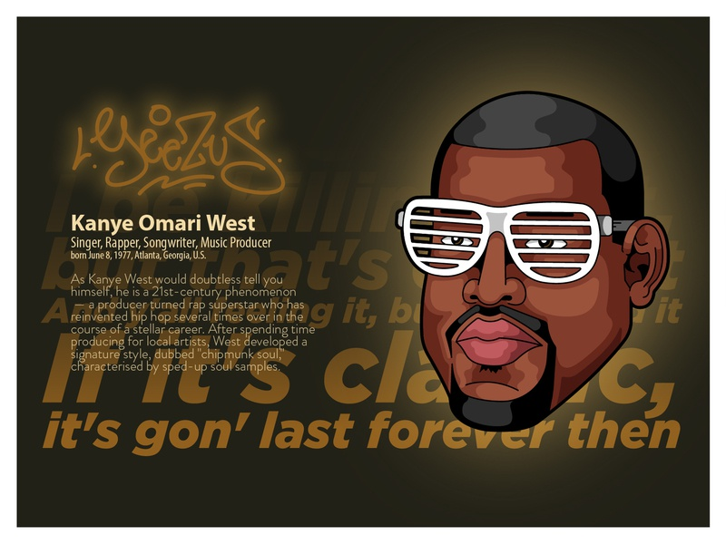 "Kanye West ""Yeezus"" lettering tag design mousemade portrait kanyewest kanye yeezus cartoon illustration illustration"