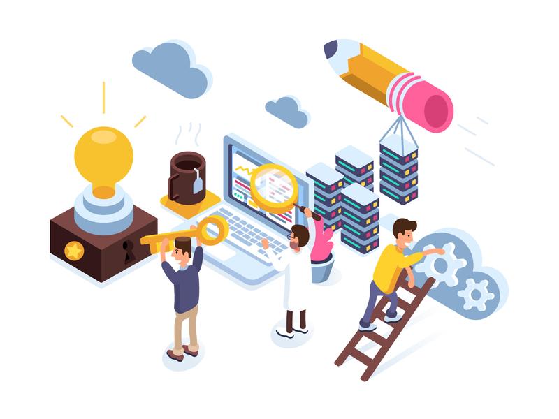 Application Development Process scientist designers it company flat character design development developers isometric design isometric illustration