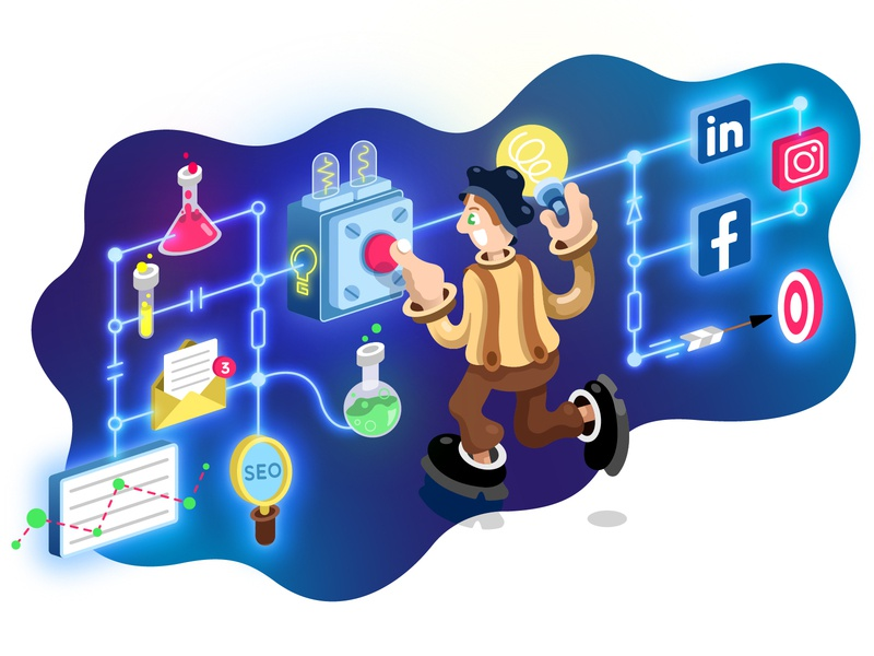 Thomas Edison for Glenmont Consulting Co. web illustration bulb launch analitycs chemicals lab isometric design isometric illustration seo social buttons edison illustration consulting