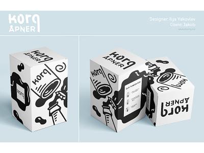 Korqåpner Box Design bottle label bottle design illustration apner minimalistic bottle opener mockup packaging design packaging box box design