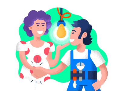 Happy customers technician dry brush texture grainy character design cartoon illustration cartoon illustration