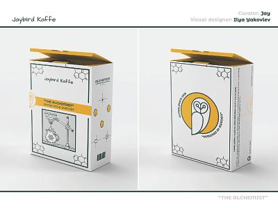 """The Alchemist"" box packaging owl over pour pour-over coffee app illustration box design box packaging package packaging design"