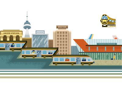 UPX App Banner flat illustration train texturized textures toronto flat vector railway banner design app illustration