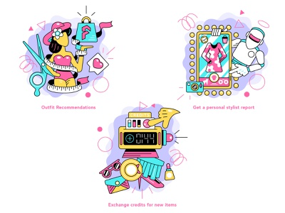"""""""Fabble Co."""" The Illustrative Icons Project graphicdesign vectors dribbble behance vector illustration icon set icon design fashion icon vector stylish modern miami colourful cartoonish character art"""