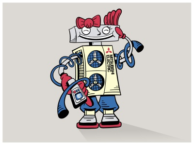 "Repairwomen Mascot for ""Mitsubishi Electric"" handdrawn robot cartoonish cartoon mitsubishi mascot character illustration"