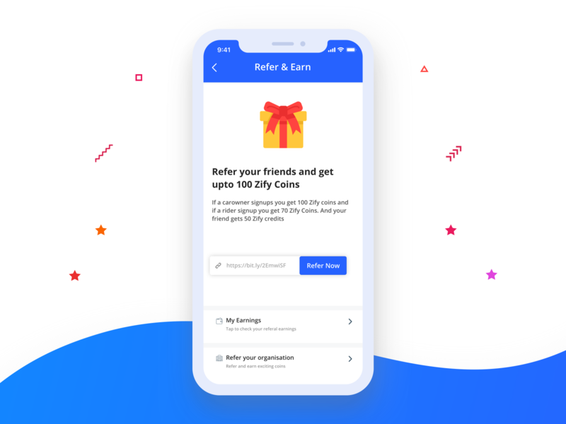 Refer and Earn Screen referral referandearn earn refer app design mobility designers cities commuting carpooling mobile uxdesign uidesign product design