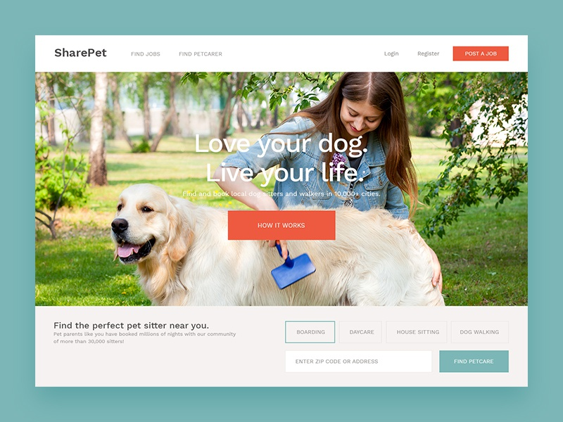 Share Pet Homepage Concept sitter pet web design web ui product minimal landing  page interface homepage clean