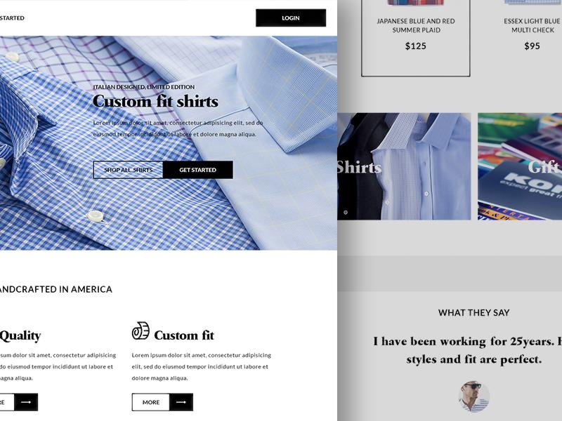 Custom Tailor Landing Page Concept web design landing page web ui sitter product minimal interface clean