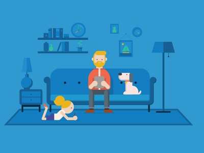 Home life dog living room family blue design character ipad illustration vector