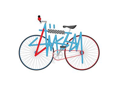 Bike type design illustration stussy flat vector typography type bike