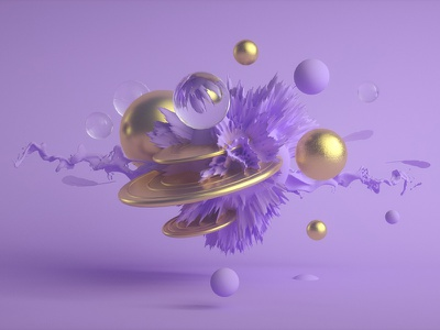 Discs abstract purple design coral gold spheres c4d 3d
