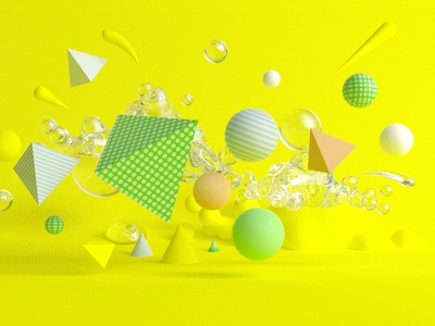 Shapes crazy yellow abstract spheres c4d 3d shapes