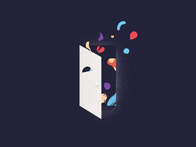 Open Doors graphic shapes illustration flat vector