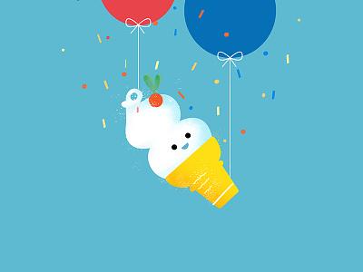 Dairy Queen character balloons sprinkles blue ice cream vector dairy queen