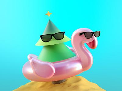 Beach Life c4d redshift flamingo beach summer tree 3d