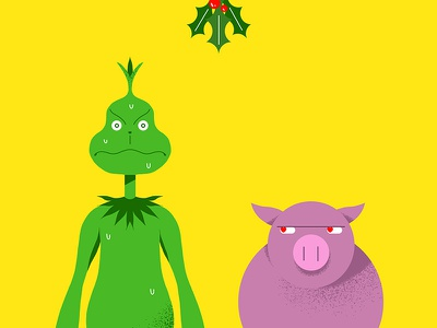The Grinch pig colorful flat vector the grinch