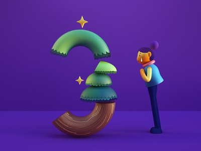 The Three Tree illustration number c4d redshift character 3d art 3d