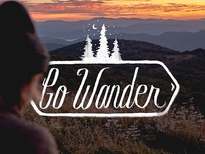 Go Wander illustration north carolina texture photography trees hand drawn type typography icon smokies mountains wander explore