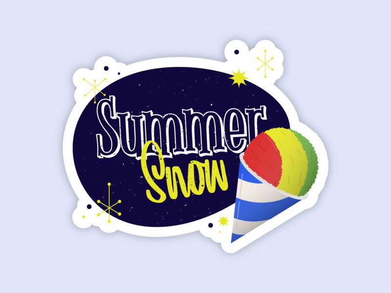 Summer Snow vector sticker design typography illustration