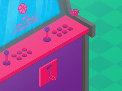 New Challenger Approaching graphic flat design illustration 2d kotek coin neon arcade fedekotek invite first shot
