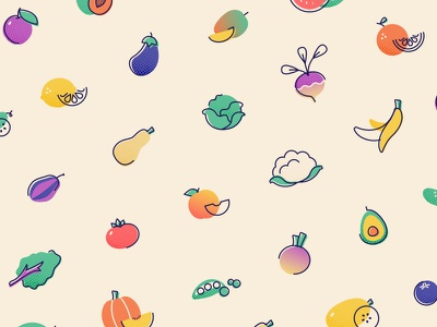 Fruit and Vegetable Icons vector vegetable illustration icons fruit
