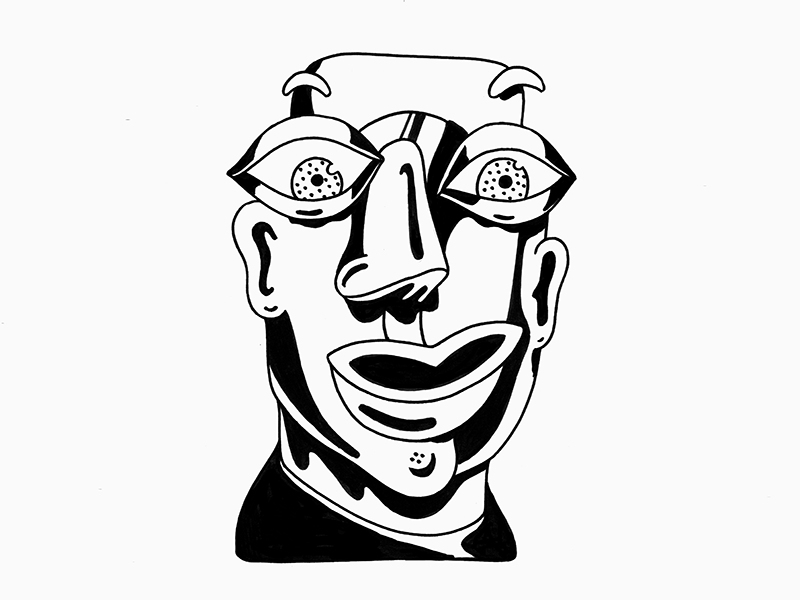 Drawing_Face paper ink face portrait illustration drawing