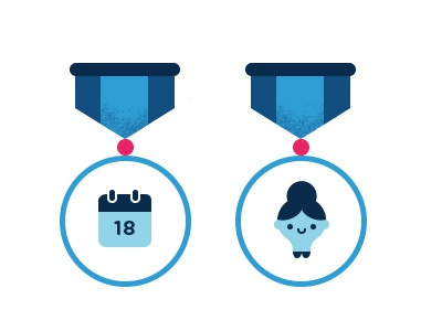 Medals illustration medal badge calendar girl texture