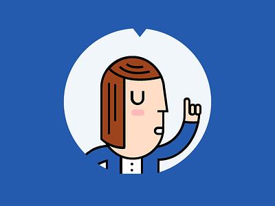 Explanations finger point explain talk woman illustration