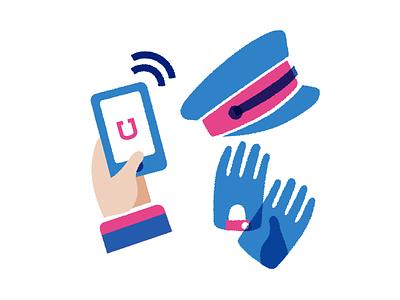How do you move ? transportation car hat gloves driver illustration app uber vtc
