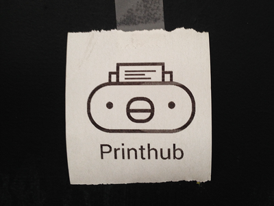 Printhub logo printer print kawaii bird identity logo